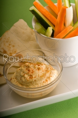 stock photo: hummus dip with pita bread and vegetable-Raw Stock Photo ID: 36806