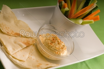 stock photo: hummus dip with pita bread and vegetable-Raw Stock Photo ID: 37496