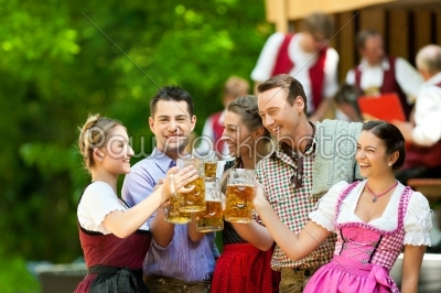 stock photo: in beer garden  friends in front of band-Raw Stock Photo ID: 41982