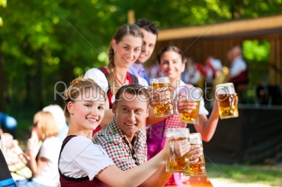 stock photo: in beer garden  friends in front of band-Raw Stock Photo ID: 41987