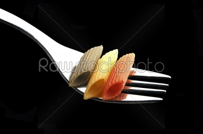 stock photo: italian penne pasta on a fork-Raw Stock Photo ID: 30655