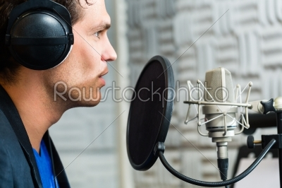 stock photo: male singer or musician for recording in studio-Raw Stock Photo ID: 38635