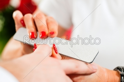 stock photo: man in nail salon receiving manicure-Raw Stock Photo ID: 41099