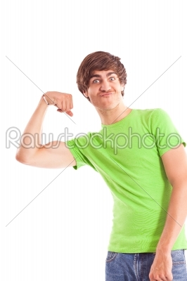 stock photo: man showing biceps-Raw Stock Photo ID: 38982