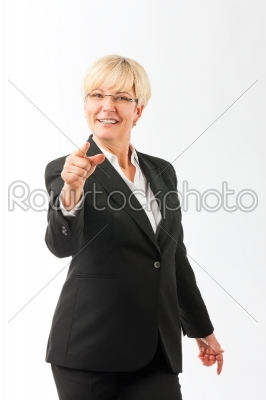 stock photo: mature woman point finger on the viewer-Raw Stock Photo ID: 43682