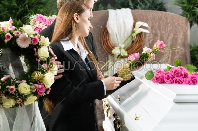 stock photo: mourning people at funeral with coffin-Raw Stock Photo ID: 48166