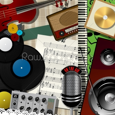 stock vector: music colage abstract design-Raw Stock Photo ID: 26295