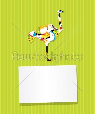 stock vector: ostrich card-Raw Stock Photo ID: 24711