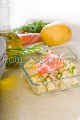 stock photo: parma ham and potato salad-Raw Stock Photo ID: 37592