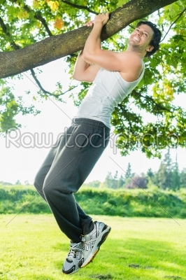 stock photo: people in city park doing chins or pull ups-Raw Stock Photo ID: 38705