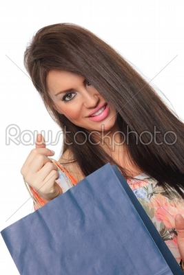 stock photo: portrait of stunning young woman carrying shopping bags-Raw Stock Photo ID: 13595