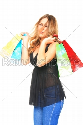 stock photo: portrait of stunning young woman carrying shopping bags-Raw Stock Photo ID: 13914