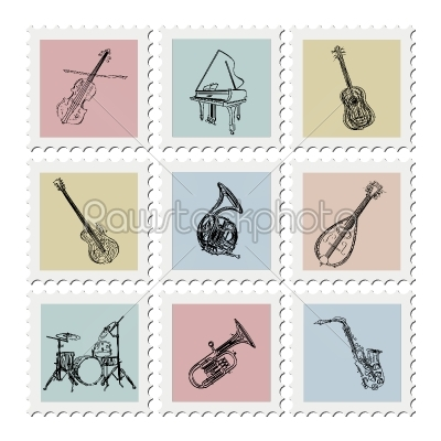 stock vector: postage stamp instruments-Raw Stock Photo ID: 25077