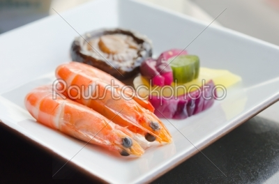 stock photo: prawns and pickled vegetable-Raw Stock Photo ID: 19016