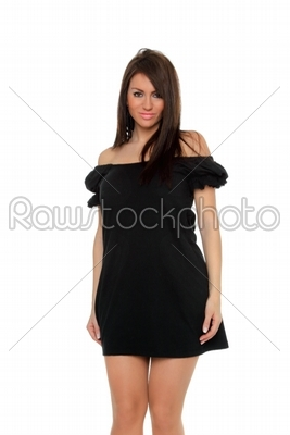 stock photo: pretty sexy girl full length posing in a nice black dress-Raw Stock Photo ID: 13558