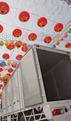 stock photo: red blue purple pink green and yellow chinese new year lanttern-Raw Stock Photo ID: 31308