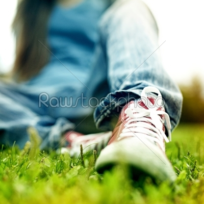 stock photo: red sneakers on girl legs-Raw Stock Photo ID: 18857