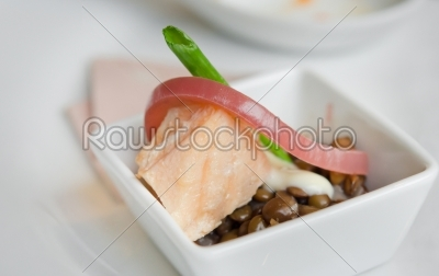stock photo: salmon and bean-Raw Stock Photo ID: 20005