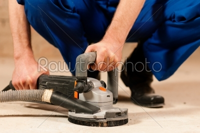 stock photo: sanding the cement floor-Raw Stock Photo ID: 39632