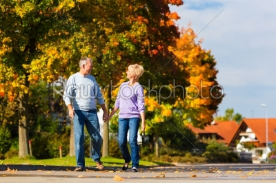 stock photo: seniors in autumn or fall walking hand in hand-Raw Stock Photo ID: 46515
