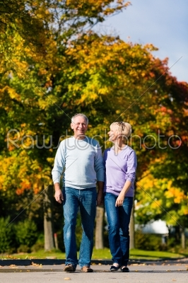stock photo: seniors in autumn or fall walking hand in hand-Raw Stock Photo ID: 46519