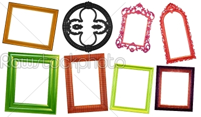 stock photo: set of varicolored vintage frame-Raw Stock Photo ID: 23109
