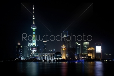 stock photo: shanghai skyline by night-Raw Stock Photo ID: 30723