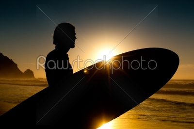stock photo: surfer and board in evening sun-Raw Stock Photo ID: 40419