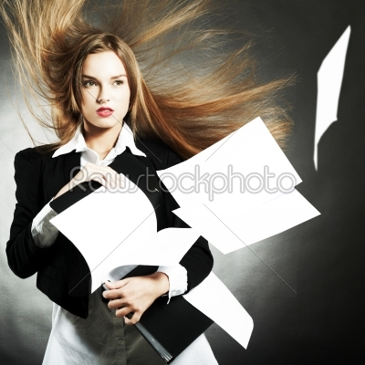 stock photo: the girl keeps papers-Raw Stock Photo ID: 18251