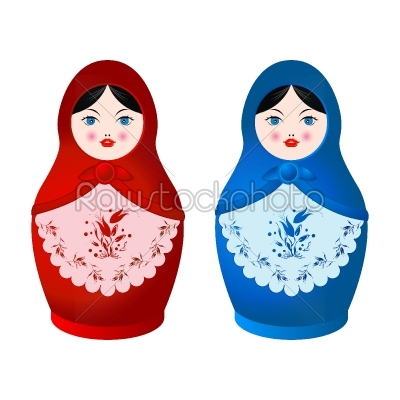 stock vector: two matryoshka-Raw Stock Photo ID: 25159