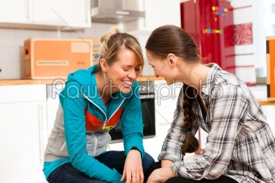 stock photo: two women with moving box in her house-Raw Stock Photo ID: 44149