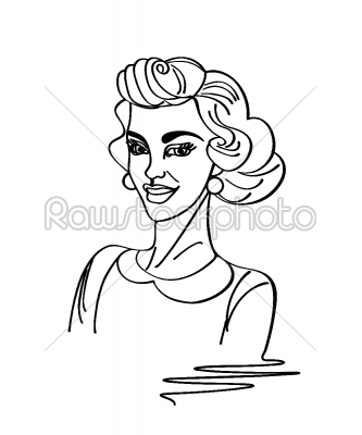 stock vector: vinyl ready vintage woman-Raw Stock Photo ID: 25028