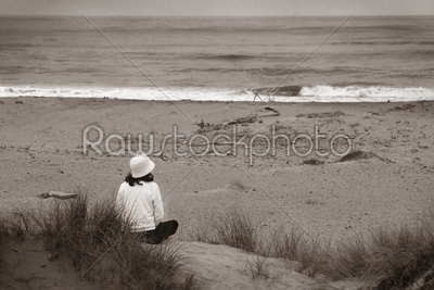 stock photo: watching the ocean bw-Raw Stock Photo ID: 29841