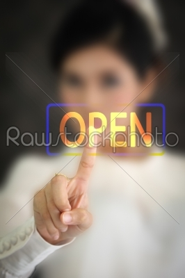 stock photo: woman hand pressing open button on a touch screen -Raw Stock Photo ID: 31844