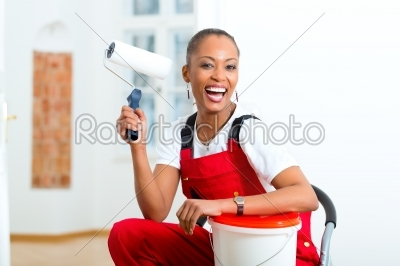 stock photo: woman in her home renovating diy-Raw Stock Photo ID: 47817