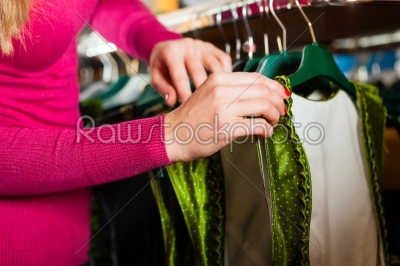 stock photo: woman is buying tracht or dirndl in a shop-Raw Stock Photo ID: 43925
