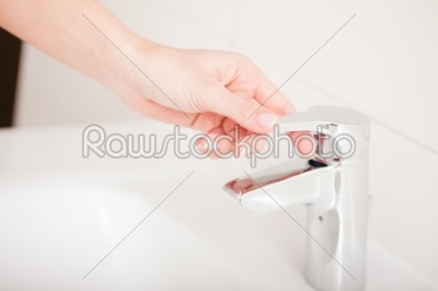 stock photo: woman just hands turns of tap -Raw Stock Photo ID: 38886