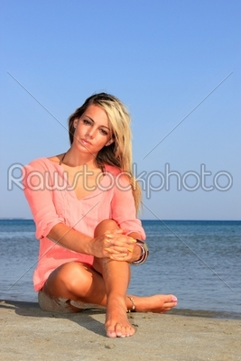stock photo: woman posing on the beach-Raw Stock Photo ID: 13689