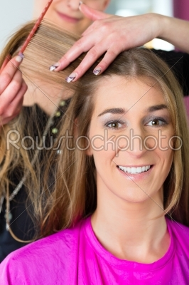 stock photo: woman receiving haircut in hairdressers shop-Raw Stock Photo ID: 47884