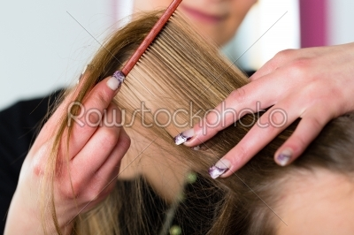 stock photo: woman receiving haircut in hairdressers shop-Raw Stock Photo ID: 47886