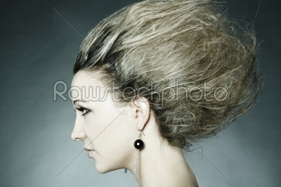 stock photo: woman with an original hairdress-Raw Stock Photo ID: 18261