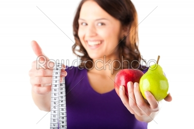stock photo: woman with apple pear and measuring tape-Raw Stock Photo ID: 43899