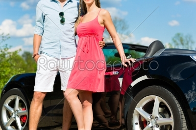 stock photo: young couple with cabriolet in summer on day trip-Raw Stock Photo ID: 45104