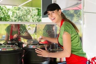 stock photo: young emloyee of an concession stand-Raw Stock Photo ID: 45332