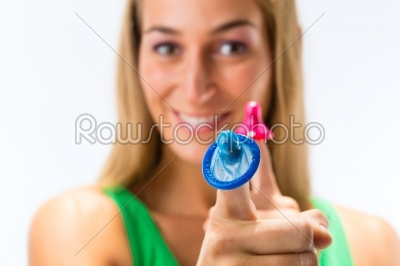 stock photo: young woman with a condom-Raw Stock Photo ID: 46322