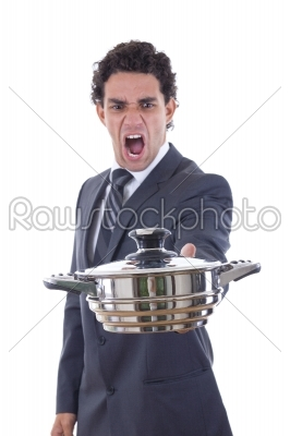 stock photo: adult man looking at pot for cooking with expression-Raw Stock Photo ID: 52381