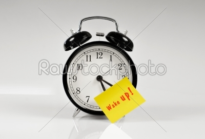 stock photo: alarm clock with a yellow note-Raw Stock Photo ID: 65765
