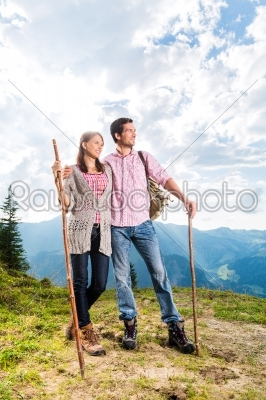 stock photo: alps  couple hiking in the bavarian mountains-Raw Stock Photo ID: 49692