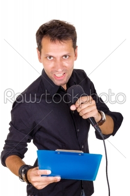 stock photo: ambitious male leader speaking on microphone with notes-Raw Stock Photo ID: 52383