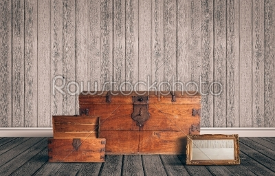 stock photo: attic with chest and mirror-Raw Stock Photo ID: 66691